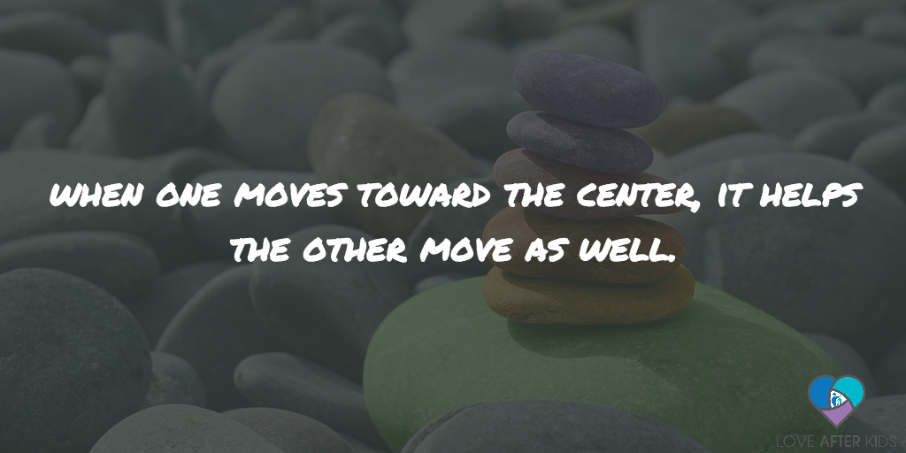 When one moves toward the center, it helps the other move as well